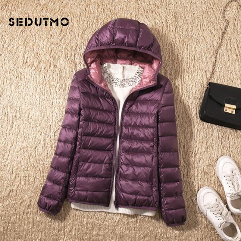SEDUTMO Winter Plus Size 3XL Duck   Down     Coat   Women Ultra Light Hooded Jackets Two Side Wear   Coat   Spring Puffer Jacket ED602