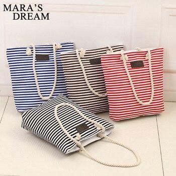 Mara s dream fashion canvas unisex stripe women zipper handbag strap coffee shopping bag shoulder bag.jpg 350x350