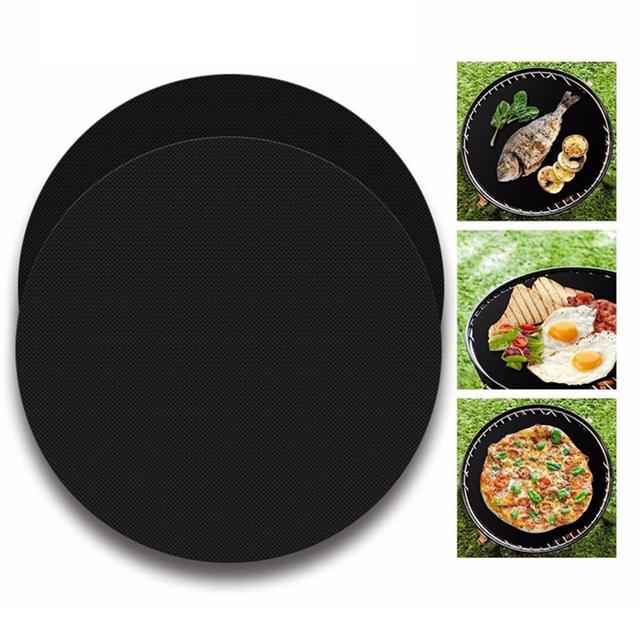 2pcs Non-stick Round Pan Mat Kitchen Baking Pad Pan liner Sheet Kitchen Baking Pad Cooking Liners BBQ Mats Kitchen Tool gadgets