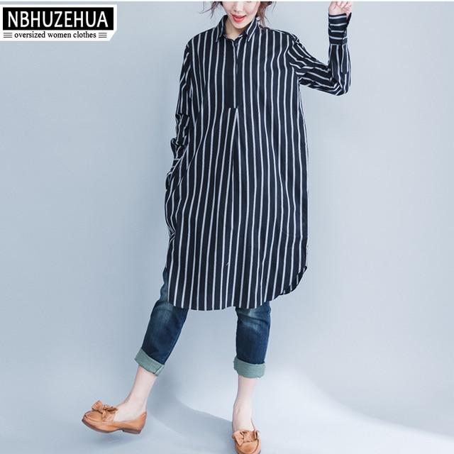 37986282ae789 4XL 5XL 6XL Women Shirt Long Sleeve Autumn Classic Turn-down Collar White  Black Stripe Blouse Plus Size Womens Clothing SY1659