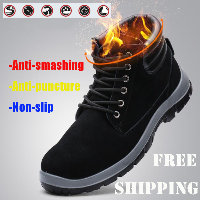 LARNMERN Mens Work Boots Safety Steel Toe Work Boots Ankle Boots For Men Anti puncture Construction Work Shoes Boots Men Black