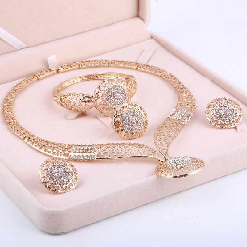 חדש הודי תכשיטי חתונה כלה גדול קריסטל דובאי זהב נשים שרשרת עגילי צמיד טבעת סט