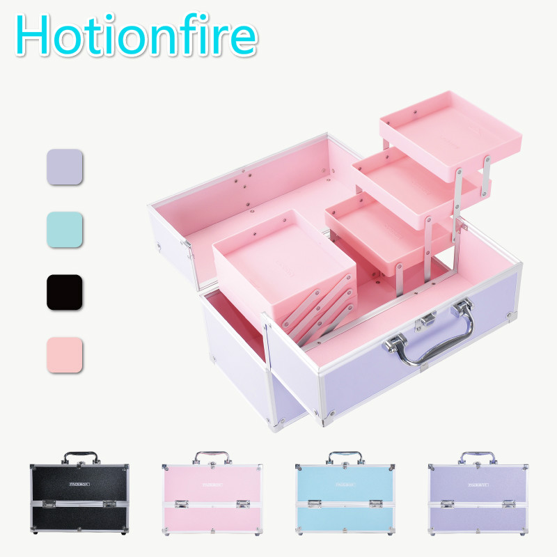 Large Capacity Portable Storage Box Cosmetic Box Toiletry Bag Travel Professional Multi-layer Multi-function One Shoulder exquisite multi function metal storage box silver