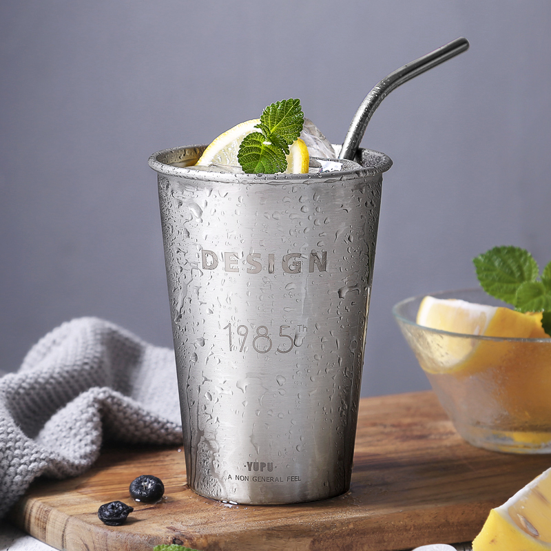 Oneisall Stainless Steel Tumblers Custom Water Bottle 500ml Wine Cola Beer Liqueur Drinking Glass Cold Cup with Straws Mugs