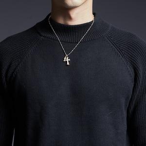 Image 5 - Мужской свитер с высоким воротником, облегающие вязаные Джемперы, толстый осенний корейский стиль, повседневная мужская одежда, 2020