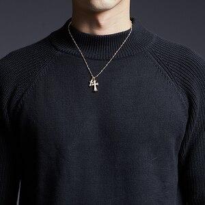 Image 5 - 2020 nowa marka modowa sweter człowiek swetry z golfem Slim Fit swetry dzianina gruba jesień koreański styl Casual męskie ubrania