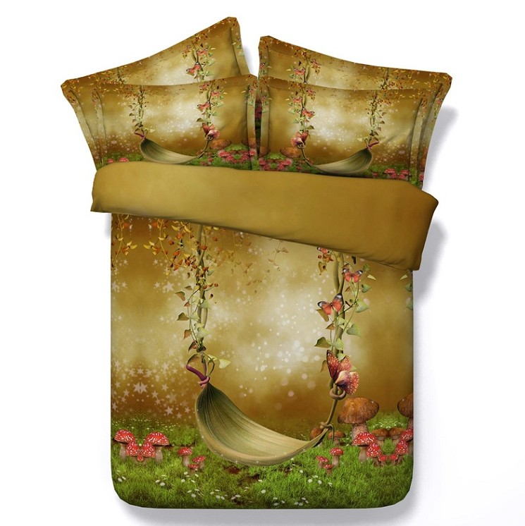 Mushroom duvet cover 3D comforter sets bedding twin size butterfly super king queen quilt doona bed in a bag sheet double single