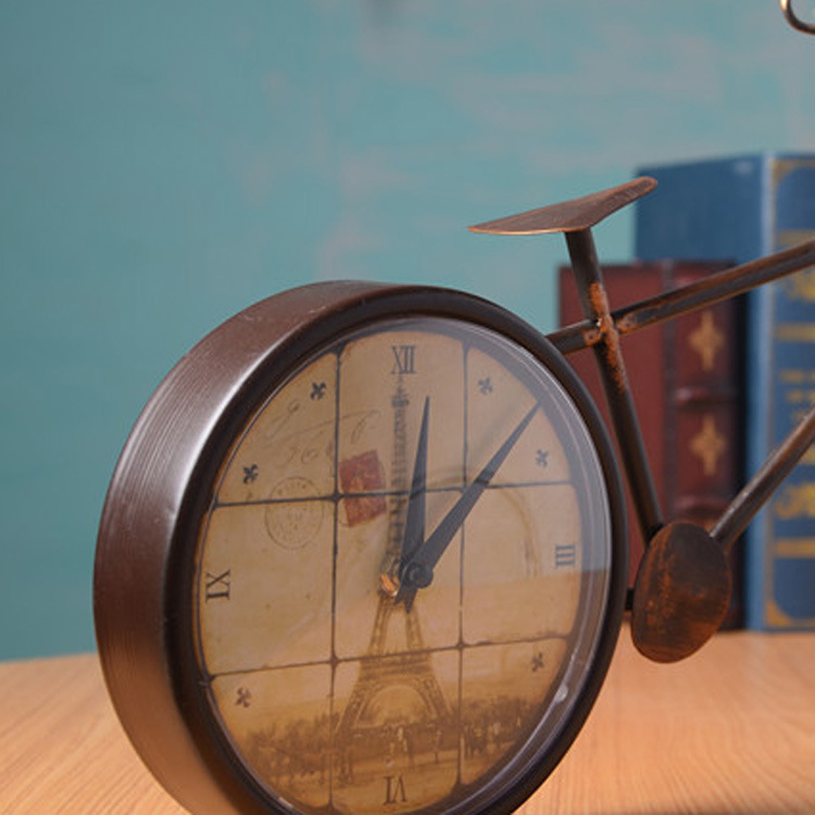 free rural iron innovate decoration retro bike desk clock tabletop gift figurines u0026 miniatures from