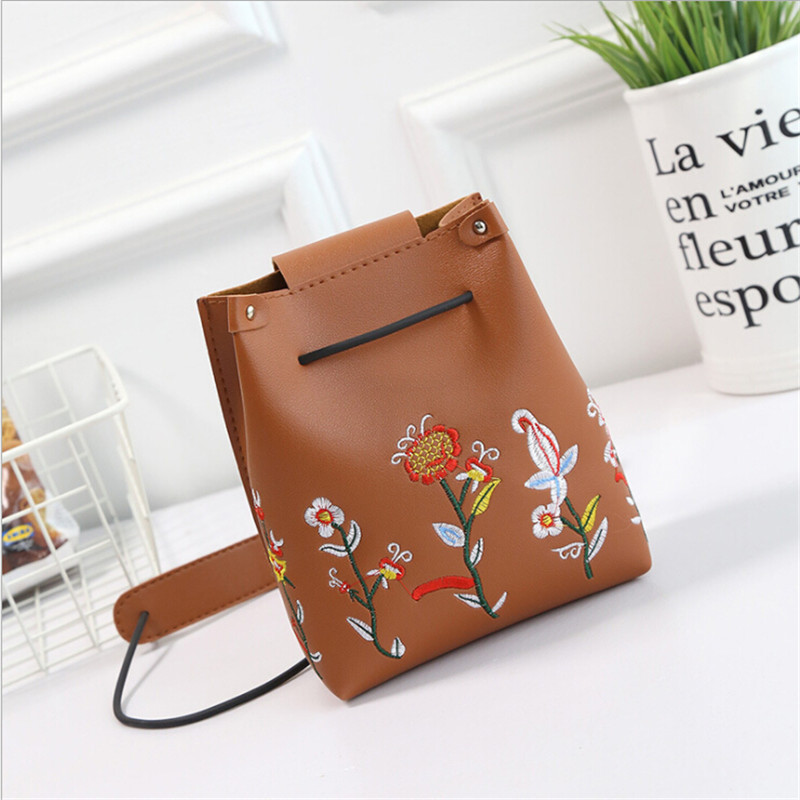 New Fashion Woman Mini Embroidery Bucket Designer Messenger Bags Women Shoulder Bag Handbags Ladies Small Flap Bolsa