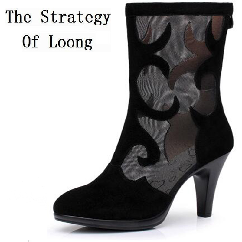Women Cut Out Real Leather Half Boots Spring  Autumn Fashion Thin High Heels Boots 2016 New Sexy Lady Boots 20161216 high quality genuine leather women shoes spring and autumn high heels women boots hollow out lace ladies fashion boots