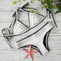 2017 New Push Up Neoprene Bikini Set Women Sexy Swimsuit Crochet Bikini Set Neoprene Knitted Women