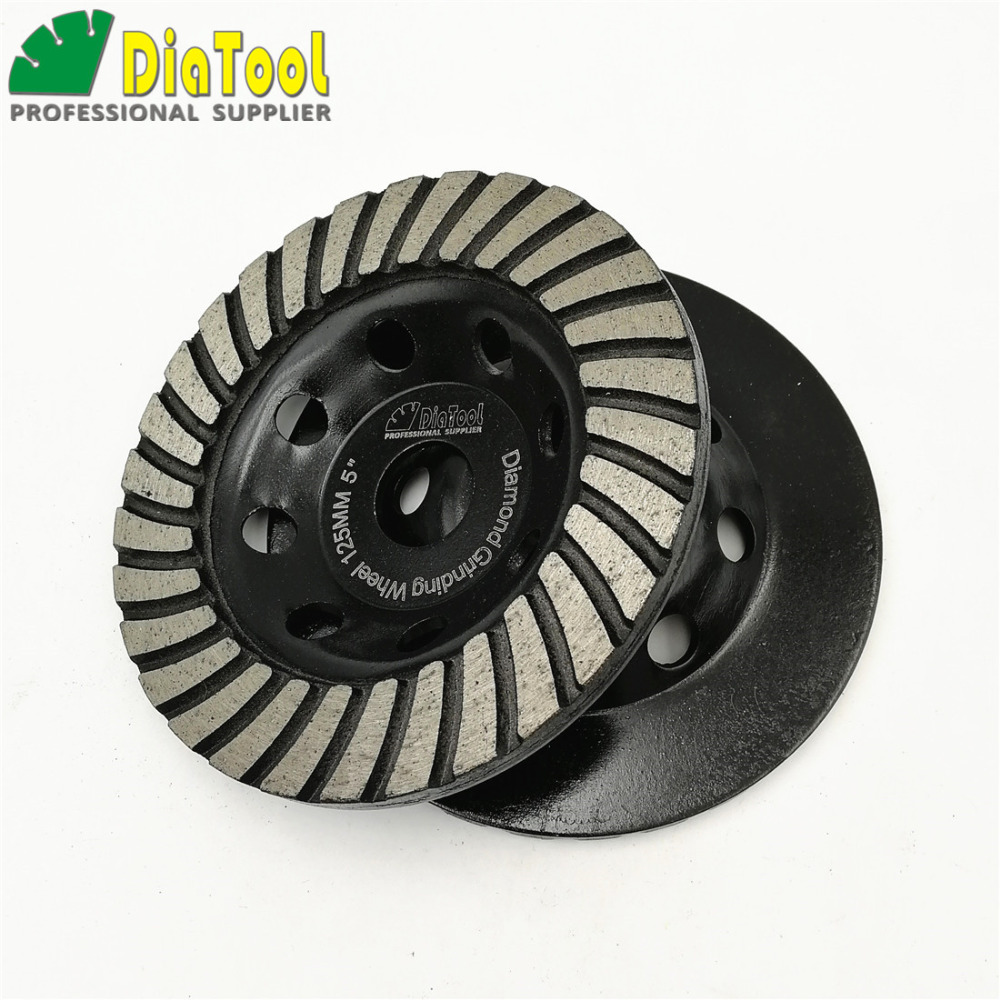 DIATOOL 2pcs 5inch Diamond Turbo Row Grinding Cup Wheel For Concrete Masonry Dia 125mm Grinding Disc цена