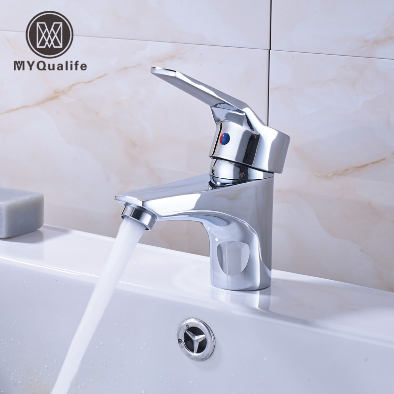 Free Shipping Bathroom Vanity Sink Faucet Brass Chrome Short Basin Washing Mixer Taps Deck Mounted One Hole
