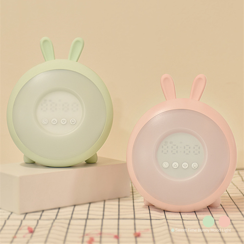 Bunny Alarm Clock with Touch Sensor Colorful LED Night Light Sunrise Sunset Modes Stepless Dimming Rabbit Bedroom Bedside Lamp (10)