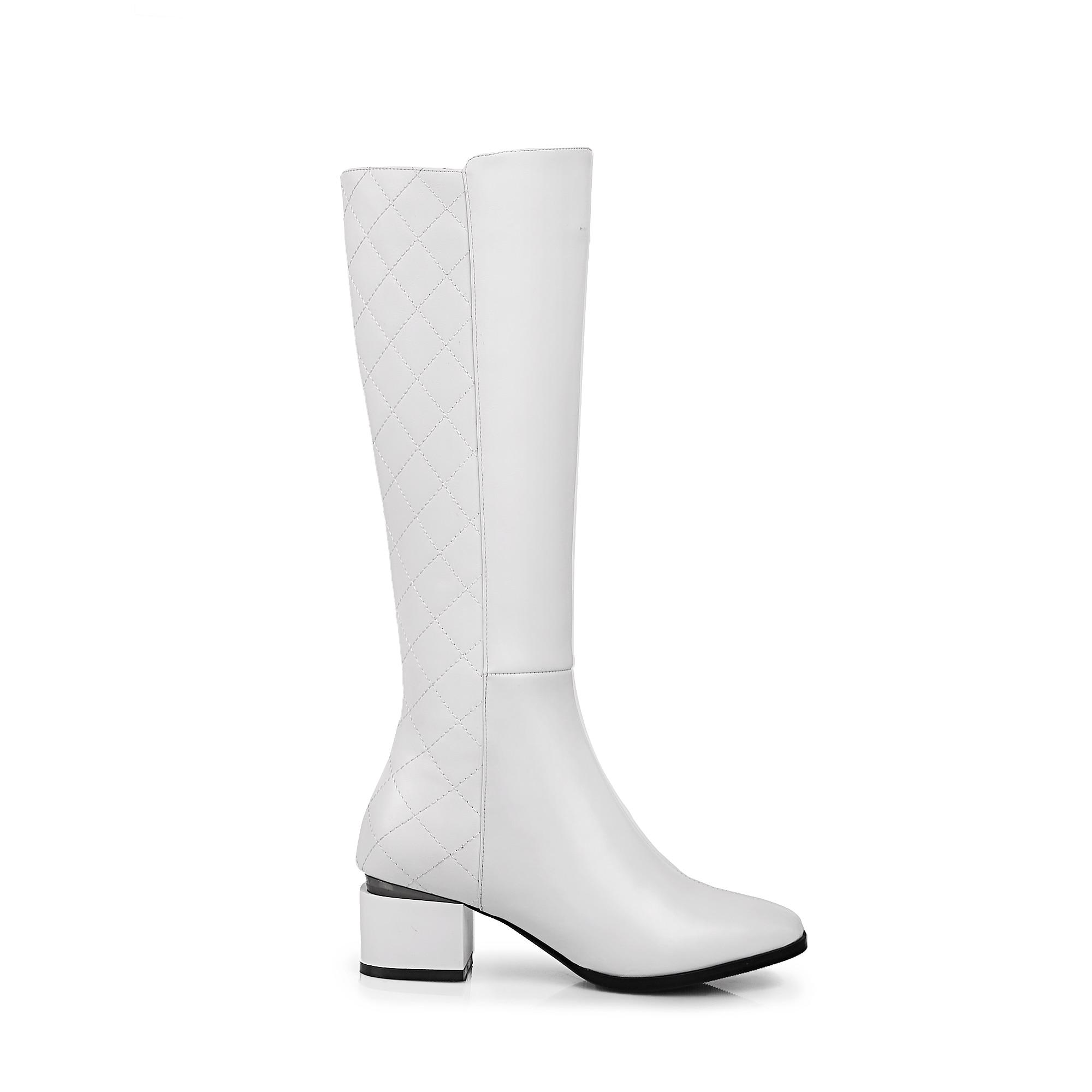 Faible Femmes Haute Noir blanc Chaud Confort rouge Rouge Mode Noir Blanc Talon De Carré Bottes Zipper Chaussures Véritable Cuir En Hiver Genou Bout r04Irq