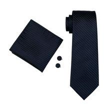 Men Tie Dark Striped 100% Silk Classic Jacquard Woven Tie + Hanky + Cufflink Set