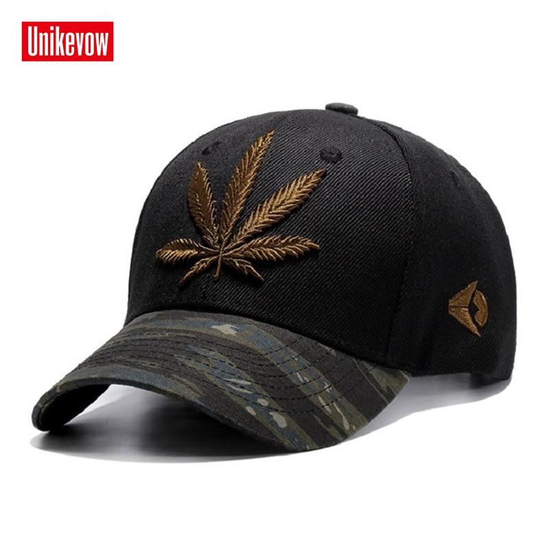 UNIKEVOW Gorra de béisbol de alta calidad Deportes Unisex Ocio Sombreros Bordado de la hoja Gorra para hombres y mujeres Hip Hop sombreros