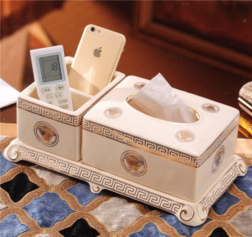 Европейский стиль Керамическая Многофункциональный Роскошная гостиная журнальный столик Desktop дистанционный пульт коробка для хранения