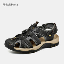 2019 summer sandals for men genuine leather soft flat closed toe gladiator casual driving hiking outdoor beach holiday shoes