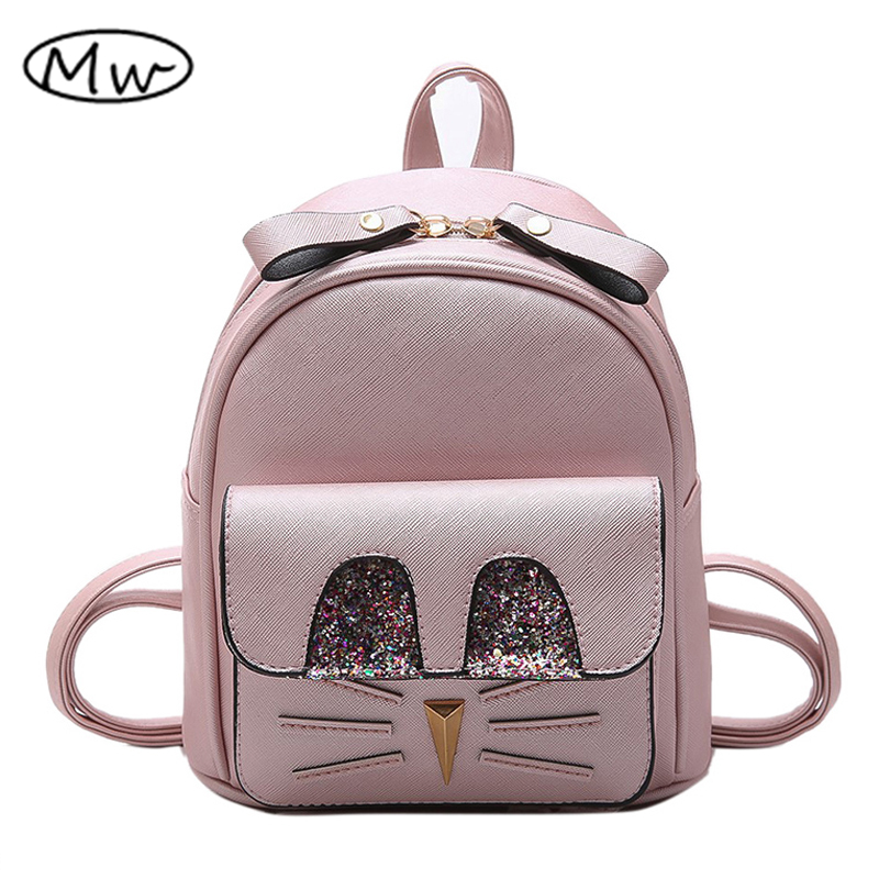 Moon Wood Women Mini Backpack PU Leather Korean Cute Cat Eyes Sequins Backpack Children Girls Boys