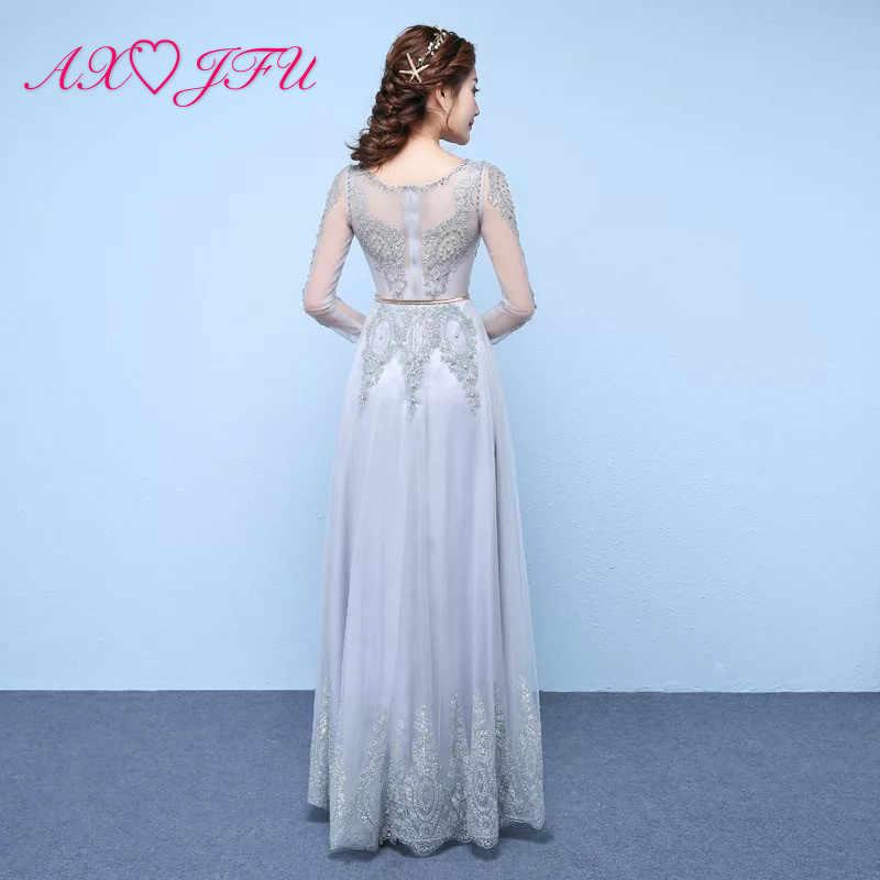 AXJFU принцесса серое кружевное цветочное вечернее платье для вечерние с круглым вырезом Бисероплетение Кристалл Жемчуг серебристый порошок лист пояса вечернее платье