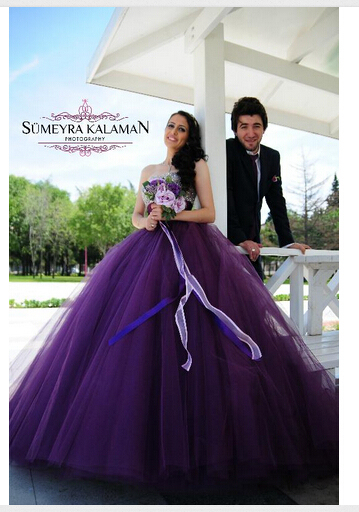 Sweetheart Purple Wedding Dresses With Bling Beaded Top Ball Gown
