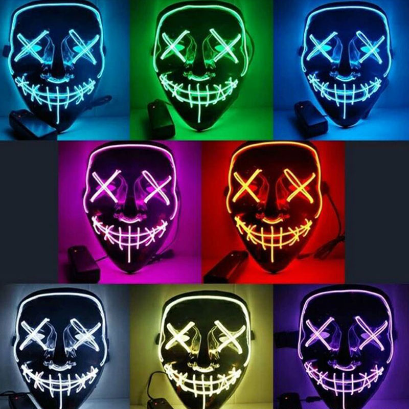 10 Colors Veil Halloween Costume Mask Women Horror Mask Masquerade Ghost Dance Party Performance Costume Mask For Men Illuminate