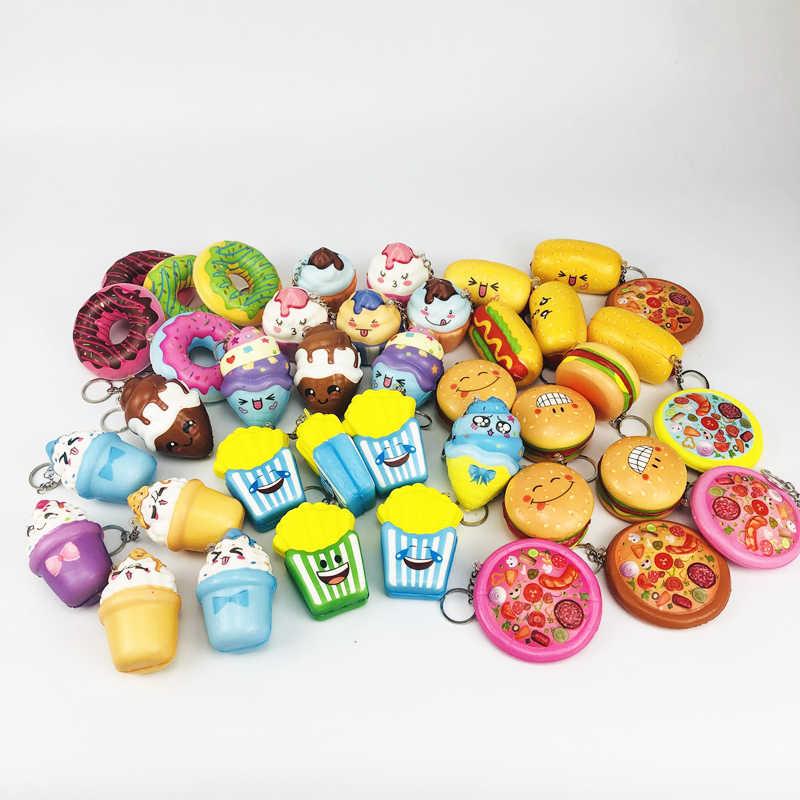 Squishy ช้า Rebound Breathable Decompression Novelty ของเล่น Mini น่ารักสุนัขร้อน Donut อาหารส่วน Squishy พวงกุญแจการ์ตูนเด็ก