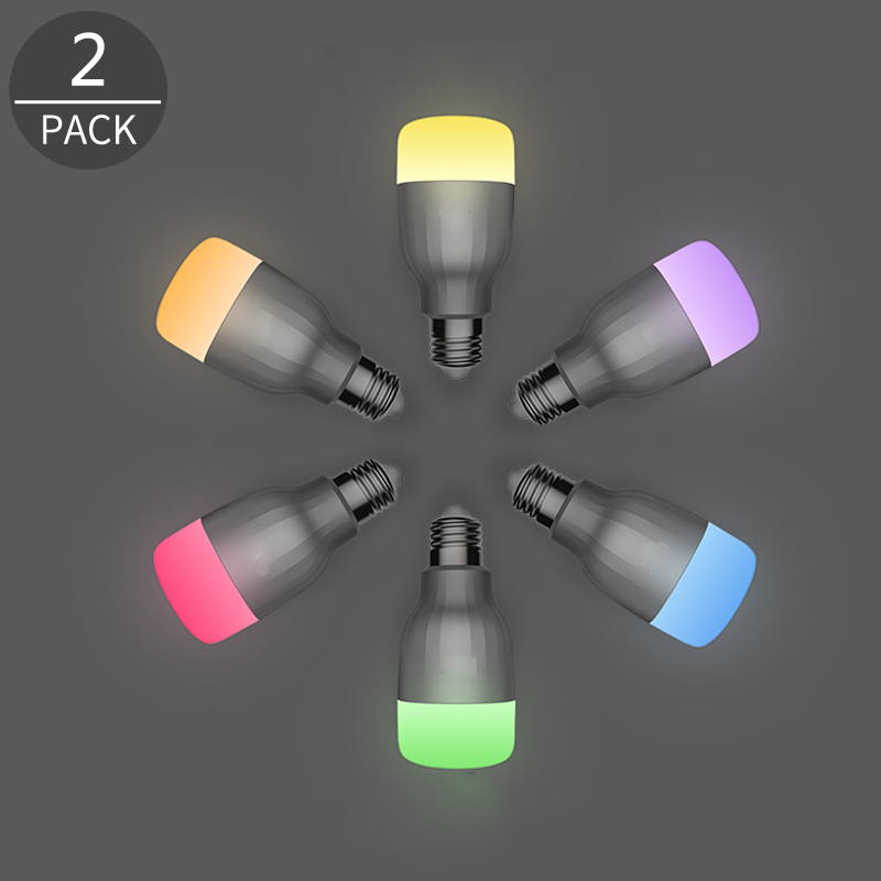 Dcloud 2017 Smart LED Color Bulb Multi Color RGB Wi-Fi Dimmable E27 Smartphone Controlled for Room Inside Everywhere 2 Pack wf820 e27 smart phone led wi fi controlled sunrise wake up multicolored color changing disco light sleeping dimmable