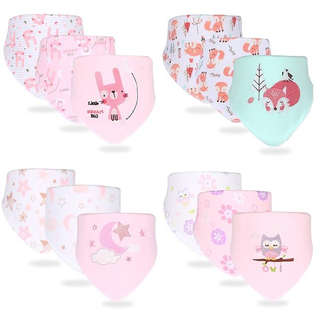 Baby Bib Cotton Breathable Bandana For Children Cartoon Baby Apron For Feeding Hydrophilic Cloth Baby Scarf For Boy Girl 3Pcs