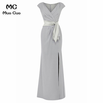 2018 Elegant Mermaid Mother of the Bride Dresses with Pleat Floor Length Ribbons mother of the bride dresses for weddings