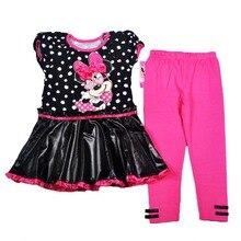Orignal marque 4 – 7 anos bébé filles minnie mouse points robe et pantalon ensemble, Minnie mouse robe et rose leggings définit le bateau libre