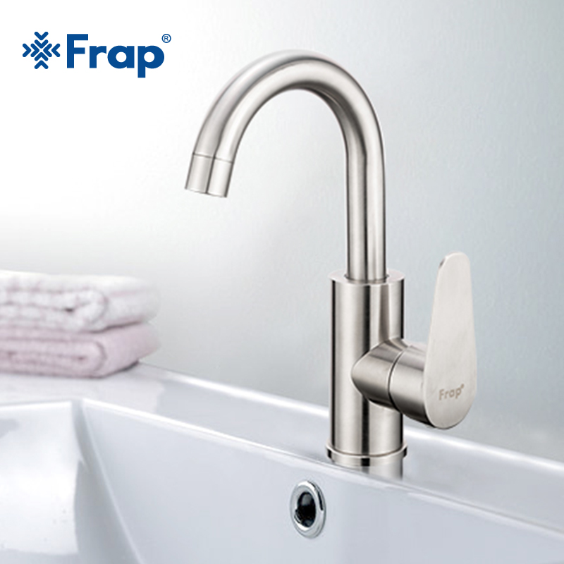 Frap Hot and Cold Water Mixer Brushed Stainless Steel Faucet Torneiras Monocomando Bathroom Basin tap Bath Sink Faucet F1348