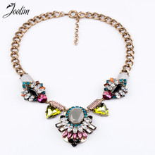 2013 Vintage Multicolour Crystal Flower Pendant Necklace Design Jewelry Free Shipping (Min Order $20 Can Mix)