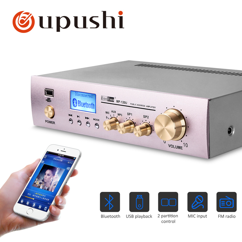 Oupushi 120W wireless bluetooth small amplifier working hours up to 18 hours support USD playback(China)