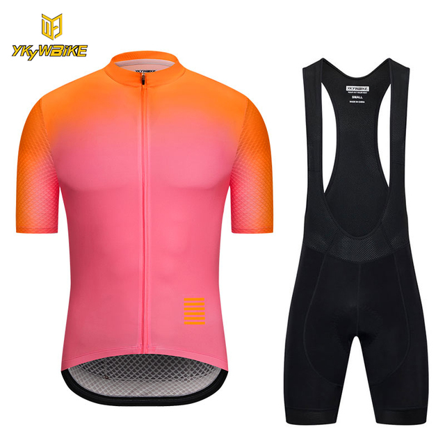 YKYWBIKE bike clothing 2018 pro team summer men cycling jersey Gradient  color short sleeve bike clothes mtb shirt bib shorts 000a4af1a
