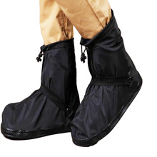 Outdoor Waterproof Rain Shoe Cover Fashion All-match Black Rain Boots Flat Overshoes Shoe Accessories Zapatos For Men and Woman