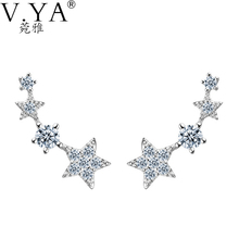 100% Real 925 Sterling Silver Earrings for Women S925 Silver CZ Crystal Strange New Design Stud Earring CE138