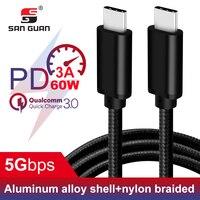USB C кабель 3 м Быстрая зарядка для USBC usb type C Macbook Pro 2 м QC 3,0 60 Вт 3A USB3.1 Gen1 type C кабель для samsung huawei