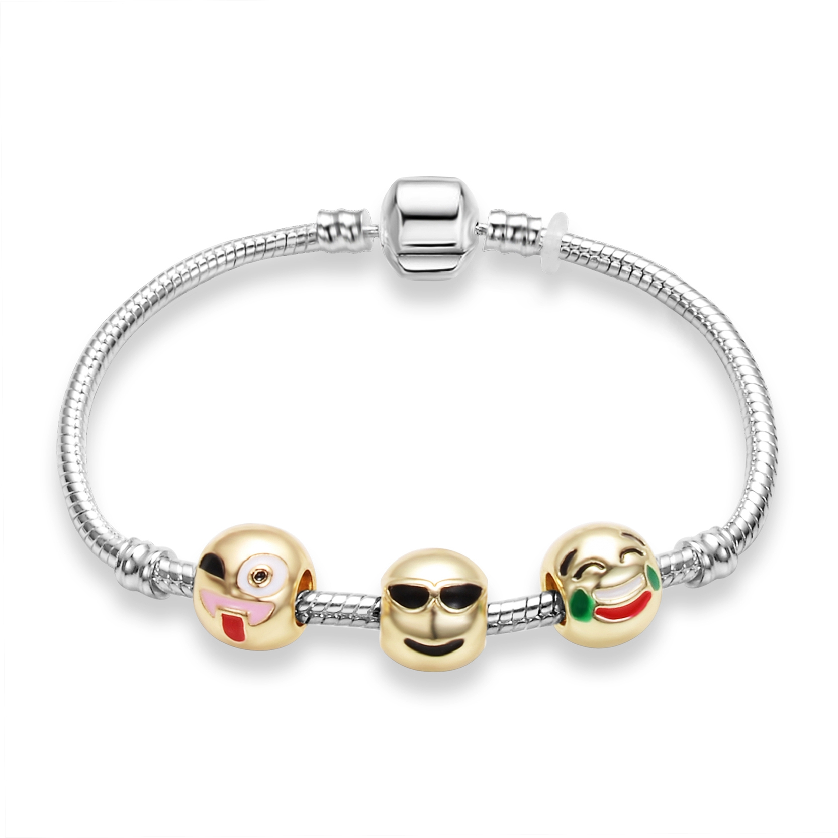 Fashion Sterling Silver Jewelry Cool Face Beads Charm Bracelet Emoji Snake  Chain Bracelets For Women Accessoreis