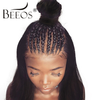 BEEOS 180 Density 13x6 Lace Front Wig Human Hair Pre Plucked For Women Non Remy Peruvian Straight Wigs With Baby Hair