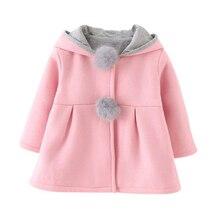 Baby Girls Coat New Autumn Cute Rabbit Ear Hooded Tops Kids Warm Jacket