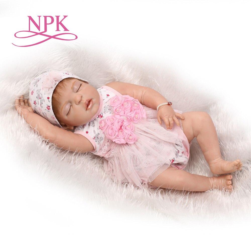 Oyuncaklar ve Hobi Ürünleri'ten Bebekler'de NPK 22 inç silikon vinil gerçek yumuşak dokunmatik yeniden doğmuş bebek 55 CM gerçekçi yenidoğan bebek çocuk noel hediyesi uyku tatlı bebek'da  Grup 1