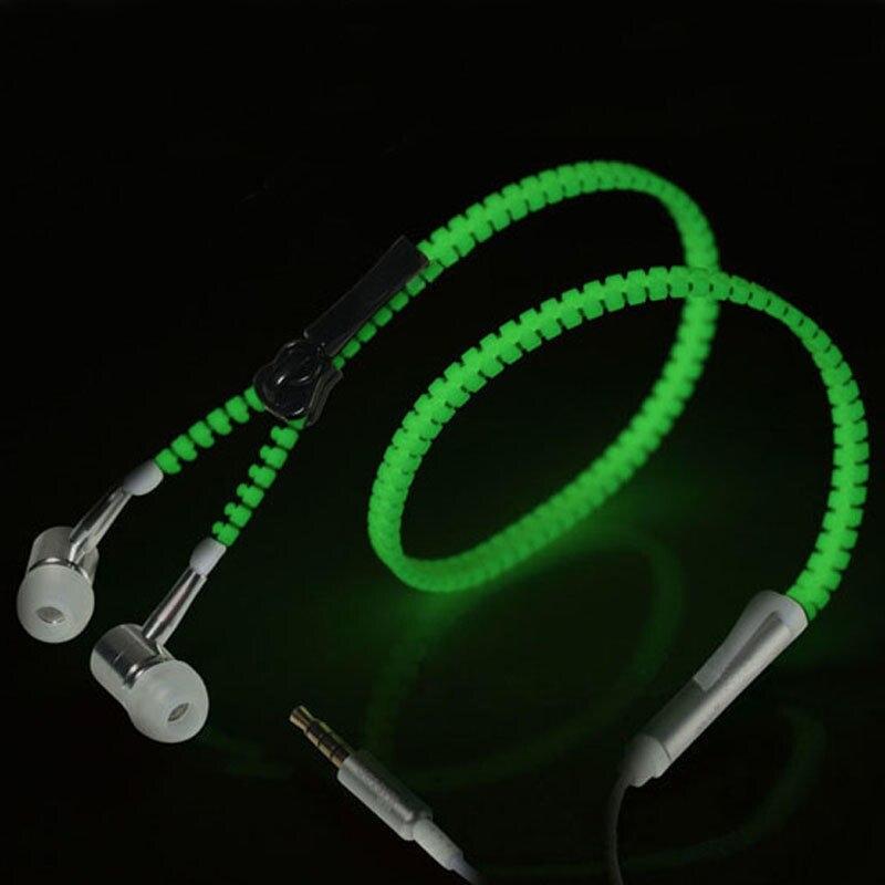 Glow In The Dark Earphones Glow Earbuds Metal Zipper Glowing Headset Luminous Light Stereo Handsfree With Mic #80908 hot sale glow in the dark earphones glow earbuds metal zipper glowing headset luminous light stereo handsfree with mic