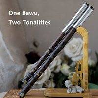 Chinese Traditional Music Instrument Bawu of Purple Bamboo Two Tonalities Accurately Tuned Transverse Flauta Double Pipes Manual
