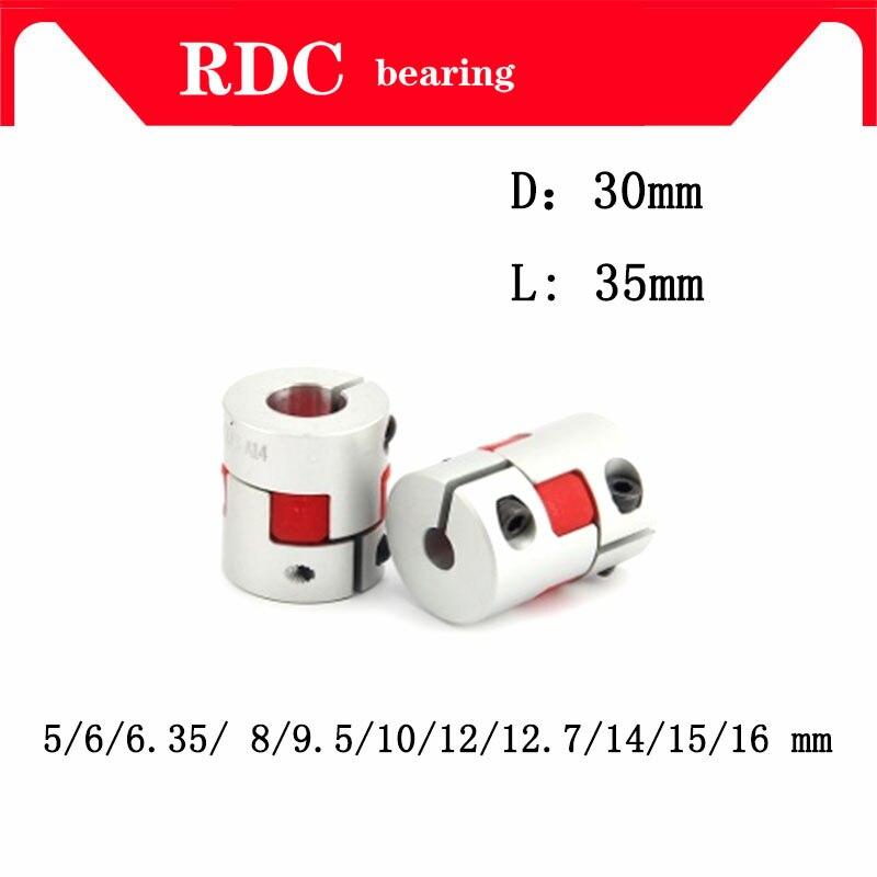 Alta calidad 1 piezas D30L35 10*14mm 5/6/6,35/8/9. 5/10/12/12,7/14/15/16mm ciruela Flexible acoplamiento del eje del CNC motor