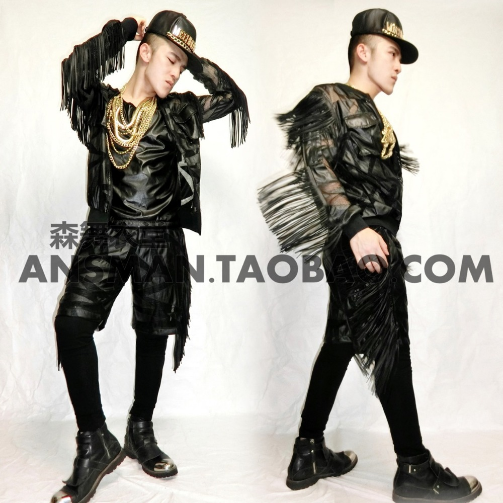 2016 new male singer DJ right Zhi-Long GD same paragraph costume Harley-rock style fringed leather men's motorcycle jacket suit