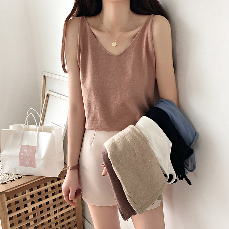 Woman Knitted Camis   Tops   Sleeveless Solid Elastic Casual   Tank     Tops   Knitting Camisoles