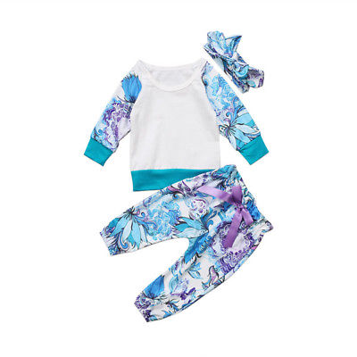0-24M Newborn Baby Kids Girls Clothes Floral Tops T-shirt+Long Pants Outfits Set