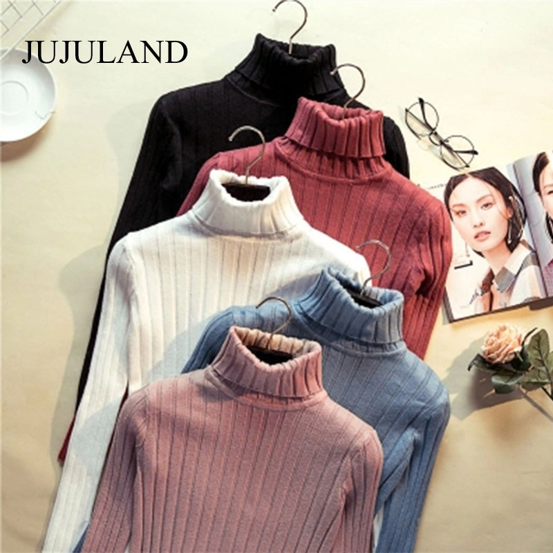 2018 Women Sweaters and Pullovers Hight Elastic Turtleneck Sweater Ribbed Winter Knitted Sweater Spring Women Jumper Christmas